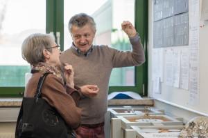 Wolfgang Rahs und Barbara Frischmuth bei Metall Schmuck Design, Ortweinschule